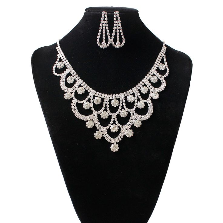 Fashion Austrian Crystal Wedding Jewelry Set Statement Necklaces Earrings Sets for Bridal  #S015