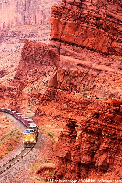 ~ Train in Moab, Utah....Near Arches National Park....Look at the colors....