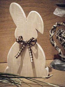 Hase, Osterhase aus Holz im Shabby Chic