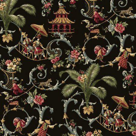 Waverly Classics Mandarin Prose Wallpaper, Black/Gray/Crimson/Caramel/Cream/Sage, Multicolor