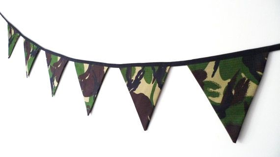 Camouflage showerproof bunting, camo banner, army themed bunting, army party banner, boys room decor, CIJ, Christmas in July