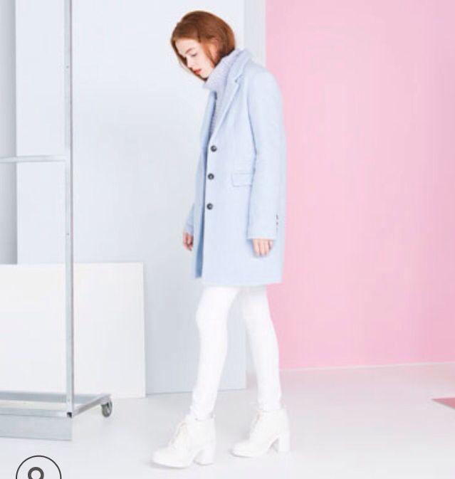 skyblue coat from bershka