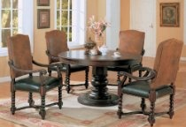 5pc Dining Table & Chairs Set with Detailed Styling Cherry Brown Finish