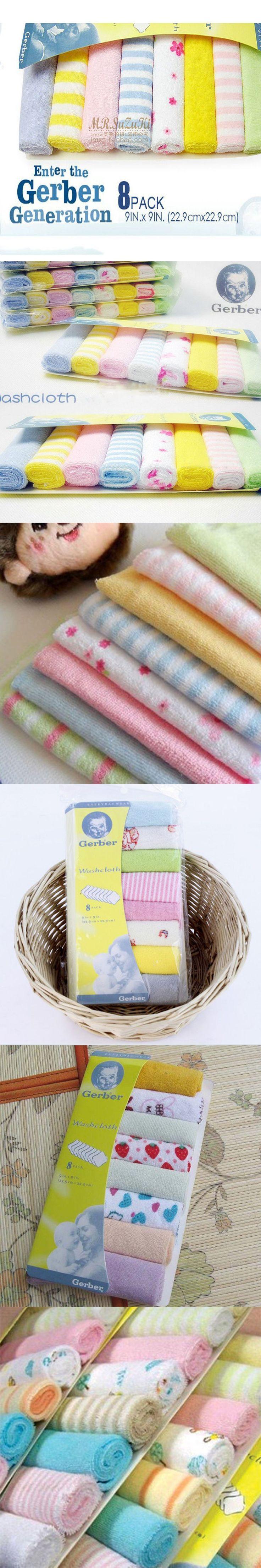 8 Pcs Baby Infant Newborn Kids Bath Towel Washcloth Bathing Feeding Wipe Cloth Soft FT Kit Soft Good Care Colorful Comfortable $2.93