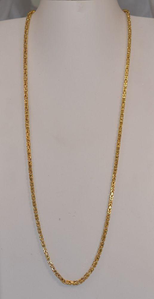 351e42cdc9c 10K Yellow Gold Squared Byzantine Italian 5 mm 28 inch Men's Necklace 20.3  grams #Byzantine