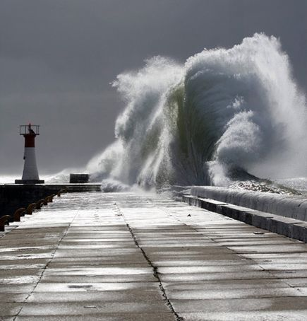 Kalk Bay Harbour during a huge storm in False Bay, Cape Town, South Africa.
