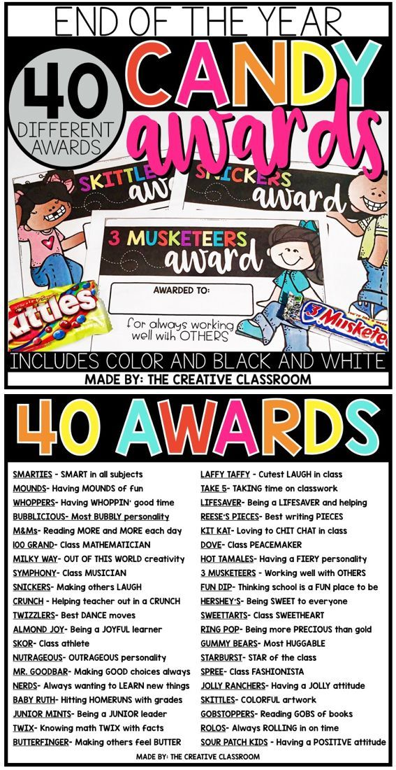 Use these fun and unique end of year awards with your class. This set includes 40 total awards for 40 different candy bars. The candy awards come in color and black and white options.
