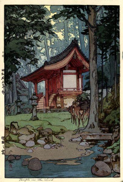 Temple in the Wood  by Hiroshi Yoshida, 1940