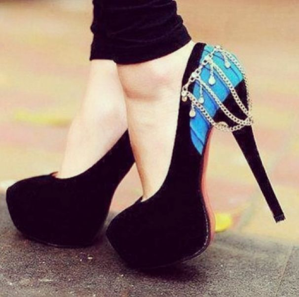 Red bottom black blue and bling heels shoe love  Shoes shoes