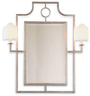 The Well Appointed House Silver Wall Mirror with Sconces