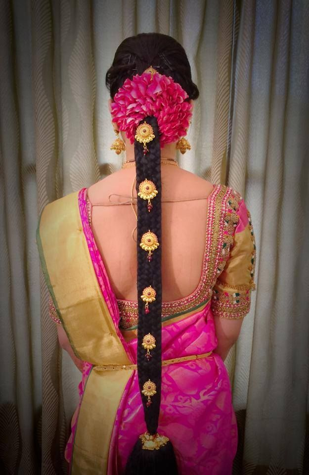 Traditional Southern Indian bride's bridal braid hair. Hairstyle by Swank Studio. Find us at https://www.facebook.com/SwankStudioBangalore #Saree #Blouse #Design