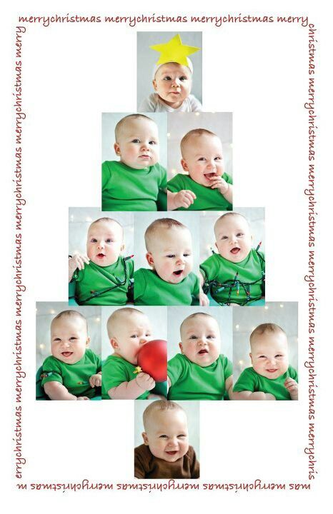 Christmas card baby photo christmas tree! Family green infant toddler kids creative funny shirts tree holiday DIY announcement winter