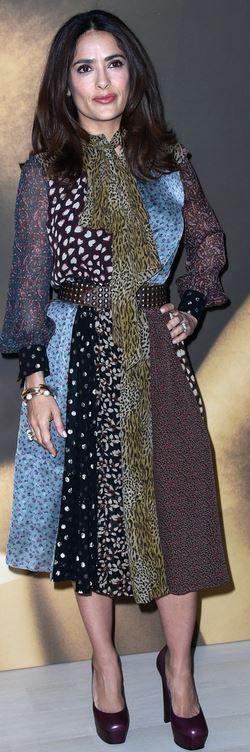 Who made  Salma Hayek's patch print dress and platform pumps?