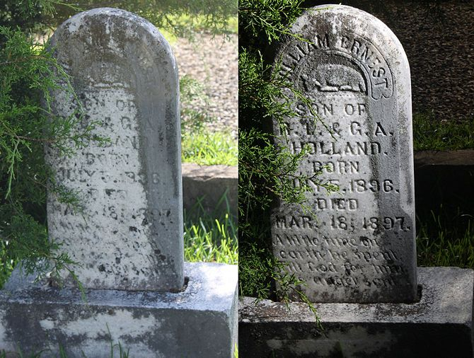 How to Photograph a Tombstone - additional links without photos/text only: http://www.rootsweb.ancestry.com/~sckersha/records/how_to_photograph_headstones.htm http://www.genealogy.com/64_gravestones.html
