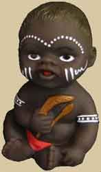 Aboriginal Baby with boomerang Price:  $10.00 or 2 for $18.00