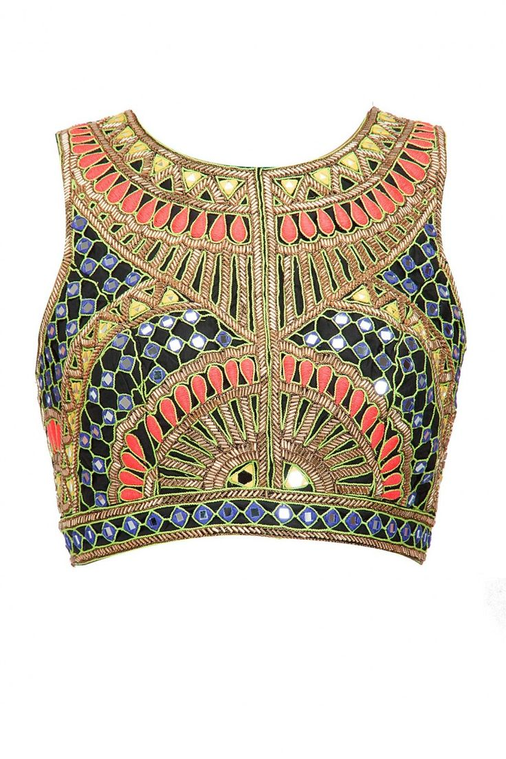 Decorated blouse as is... with mesh sleeves and circular skirt with circle design joining the top to the bottom...