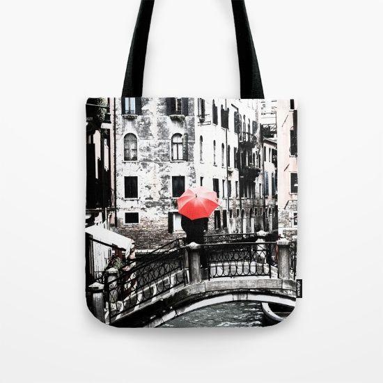 Tote Bag - Red Umbrella in Venice #photo #venice #totebag #society6