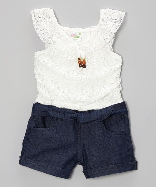 Look what I found on #zulily! White Lace & Denim Romper - Infant, Toddler & Girls by Longstreet #zulilyfinds