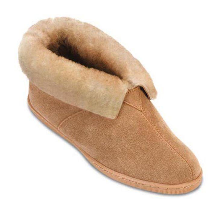 Minnetonka Mens Sheepskin Ankle Boot Slippers - 3751-TAN-7