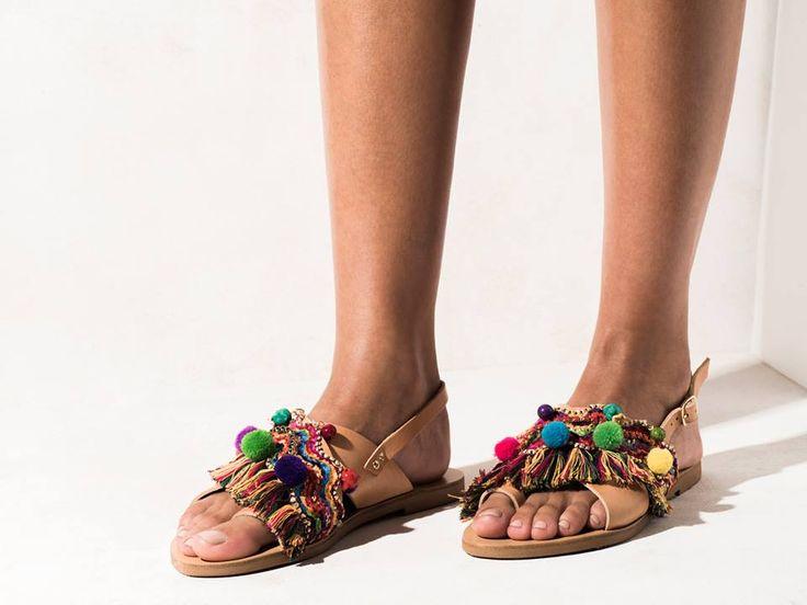 Elina Linardaki sandals with cotton colorful trims and fringes, semi-precious stones  multicolored pom poms, Preciosa and Swarovski crystals.  http://www.elinalinardaki.com/shoes/sandals/new-collection/sandal-kefi/