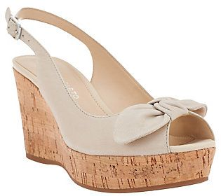 Franco Sarto Leather Sling-back Peep-toe Wedges - Vassi
