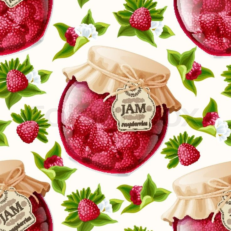Stock vector ✓ 11 M images ✓ High quality images for web & print | Natural organic forest raspberry berries jam jar and leaves seamless pattern vect...