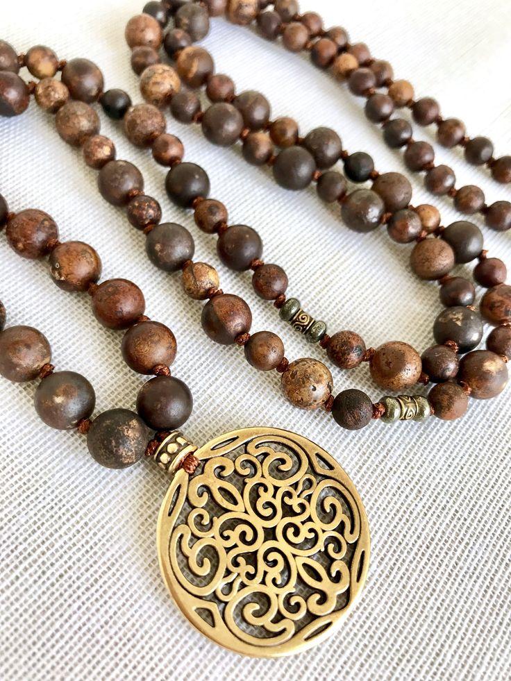 Brown agate mala necklace aged agate mala necklace yoga mala meditation necklace mandala pendant mala necklace 108 prayer beads mala by Katiaicrafts on Etsy