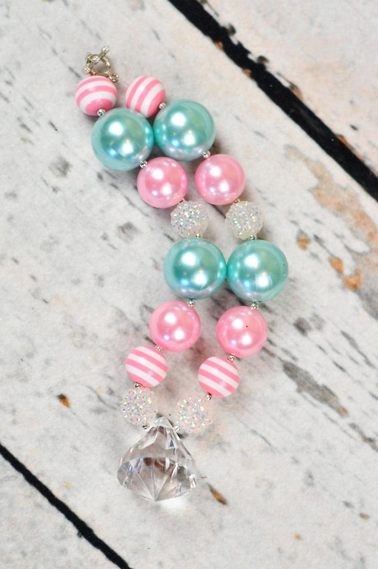 Shabby Chic Chunky Beaded Necklace Matches Shabby by rubyblueinc