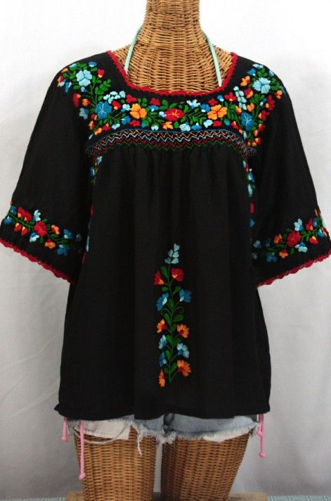 """So Striking! The """"La Marina"""" Mexican Peasant Blouse in Black with Fiesta Embroidery by Siren. #boho"""