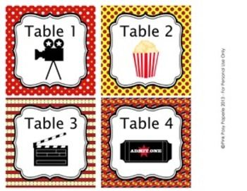 """These sweet table numbers are great for decorating your classroom in a movie theme. Print and laminate for sturdiness.   The table number tags measure 4 x 4 inches. The file includes table numbers 1-8 and a page of blank tags.  Tags can be printed on 8 1/2"""" x 11"""" white heavy cardstock or full sheet label paper. Each 8 1/2"""" x 11"""" sheet will contain 4 tags.  Cut with scissors or paper trimmer.  Graphics by Baby Star Designs."""