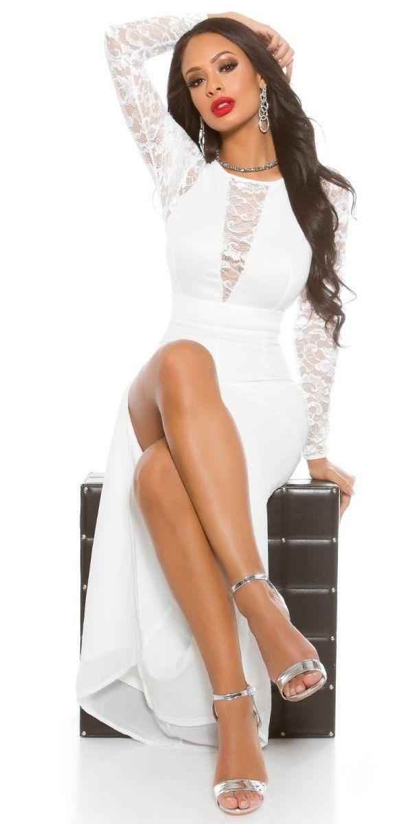Dámské dlouhé společenské šaty bílé