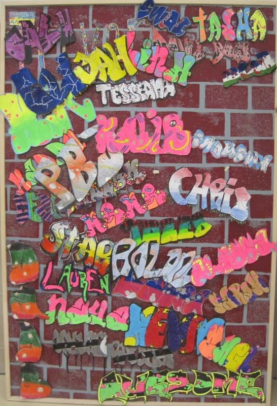 """Graffiti - Middle School Art - a good """"welcome back"""" project for next year?"""