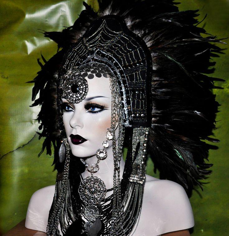 Sci-Fi Fantasy Headdress Headpiece wig goth vampire lolita cosplay costume steampunk burning man. damn!