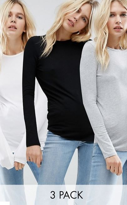 Aprovéchate del pack de 3 camisetas para ir bien abrigada este invierno.  En ASOS ahorra un 10% al comprarte las 3 camisetas.  #camiseta #Asos #manga #larga #invierno #mujer