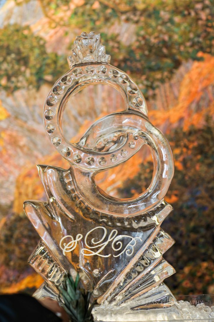 wedding rings ice sculpture at the curtis center by cescaphe event group more