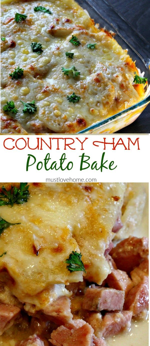 Rich and creamy Country Ham and Potato Bake is pure southern comfort food. Delicious chunks of ham, bathed in a rich cream sauce under a melted layer of cheese is great for brunch or dinner, and can be made ahead! (Baking Ham Dinner)