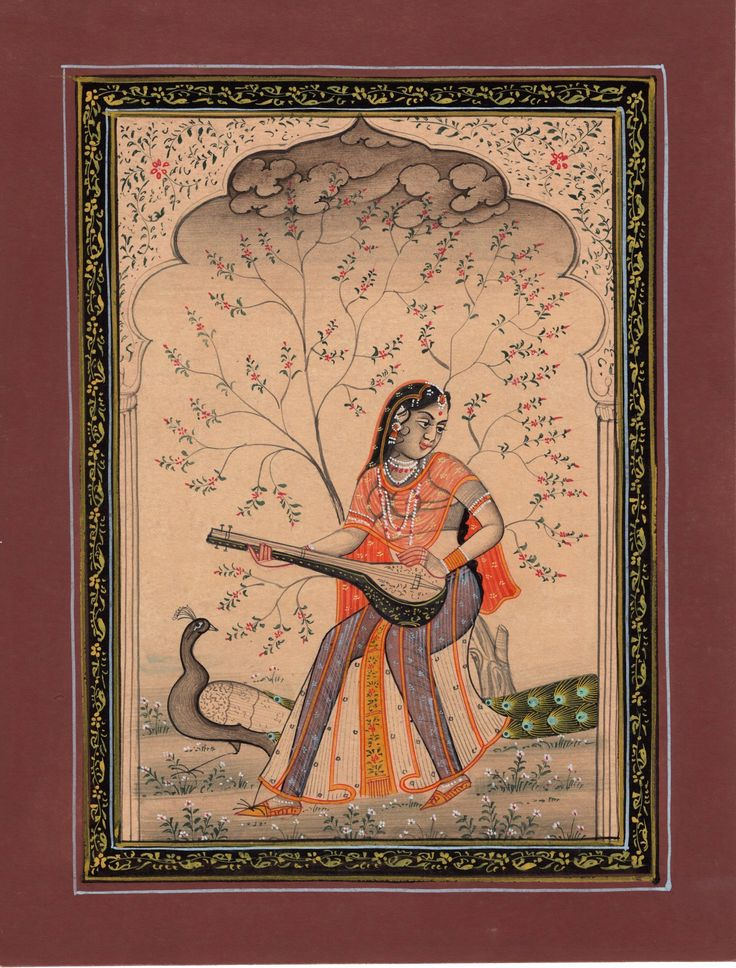 Rajasthan Miniature Painting of Music Ragamala Indian Rajput Vasanta Ragini Art