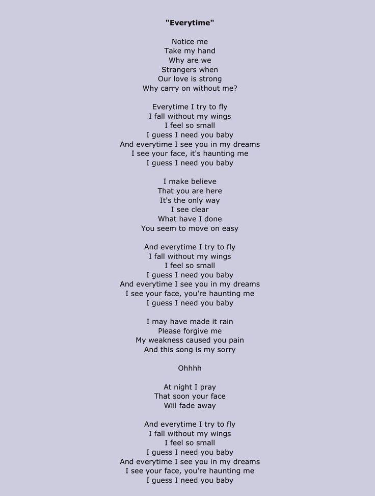 LETRA EVERYTIME - Britney Spears | Musica.com