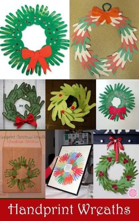 Handprint Wreath Crafts for Kids by carlani