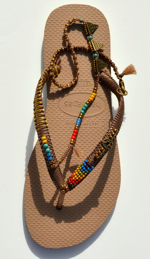 Stunning decorated BOHO Multi Colored beaded bronze Rose Gold Havaianas flip flops sandals You can decorate your hands, ears, neck- but also …