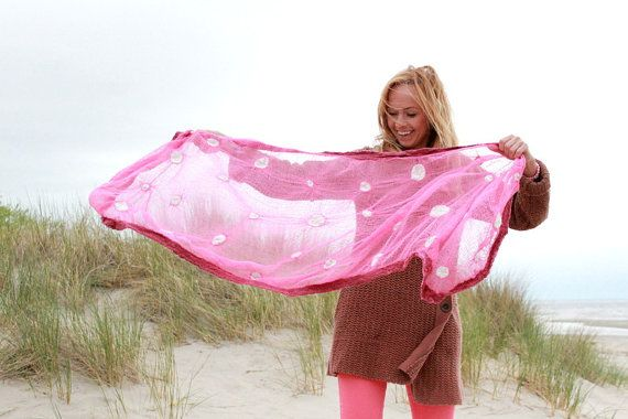 Pink fuchsia nuno felted shawl from  merino wool and hand dyed cotton gauze