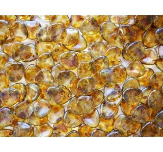 50pcs Rose Petal 7x8mm Pressed Czech Glass Beads Erinite Picasso