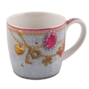 Little Diva - Mok - Jeansprint met juwelen - 300 ml