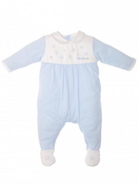 LONG COTTON ROMPER BABY BLUE WHITE EMBROIDERY STARS TUTTO PICCOLO - TUTINE NEONATO COTONE - Online Shop - L'isola che non c'è