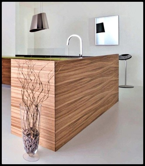 Simple Kitchen With Natural Wood Furniture Style by Toffini