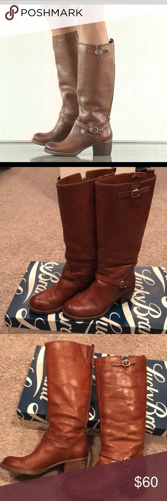 Lucky Brand Rollie Tan Leather Boots EUC! Leather is so supple and in excellent condition. Please see last two photos for heel wear and a small spot on the right boot (easily fixable with some leather shoe polish). Shaft height is about 12 inches. True size 8. Comfy 2 inch heel. Pull on style. Two small buckle details on each boot. I wear regular ankle style boots. PRICE FIRM Lucky Brand Shoes Winter & Rain Boots