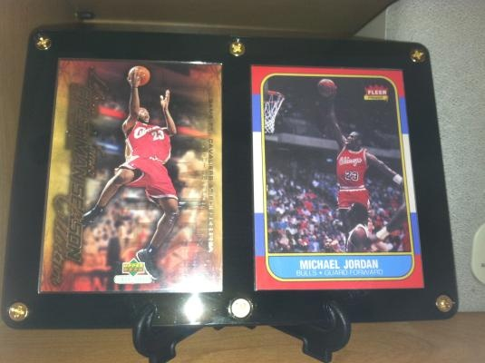 LeBron James Rookie Year Michael Jordan Reprint (RC) Designer Plaque w/ Stand  * BLOW OUT SPECIAL * $13.95