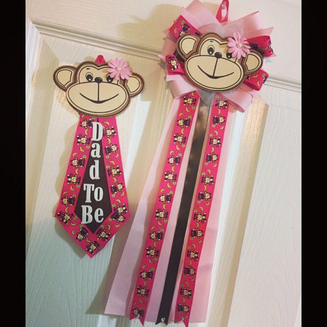 Pink pink Monkey. Baby shower mum/corsage & Dad to be tie.