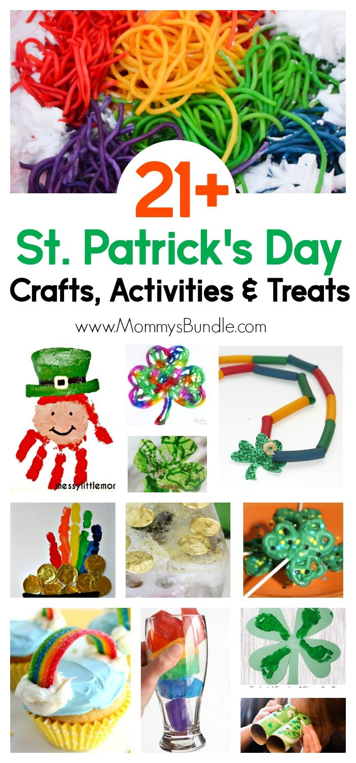 Such a fun list! St. Patrick's Day crafts and activities to do with kids! Find rainbow crafts, green shamrocks and yummy treats to make with toddlers and preschoolers!