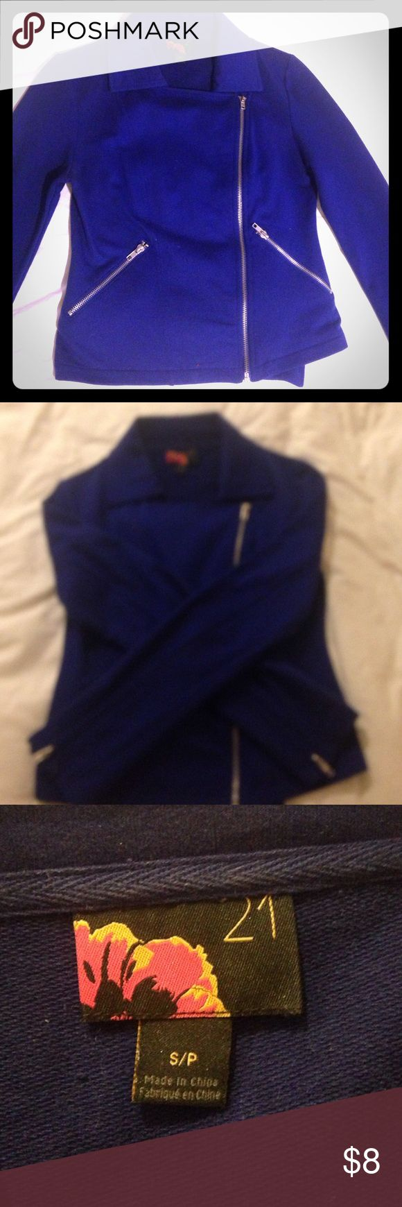 Royal blue zip-up sweater Rich, royal blue zip-up sweater/blazer. It has two pockets that zip up and zippers in each sleeve. Like new! Forever 21 Jackets & Coats Blazers